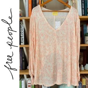 Peach Asymmetrical Floral Top NWT Free People